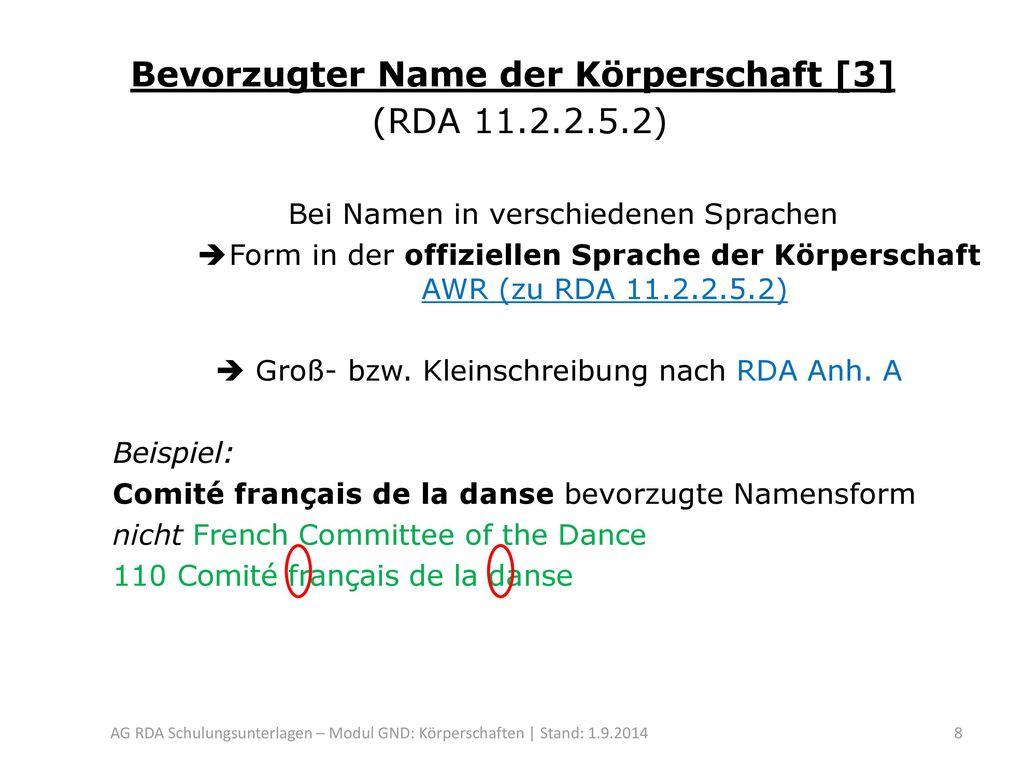 Bevorzugter Name der Körperschaft [3] (RDA 11.2.2.5.2)